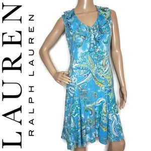 Lauren Ralph Lauren paisley ruffle collar dress M